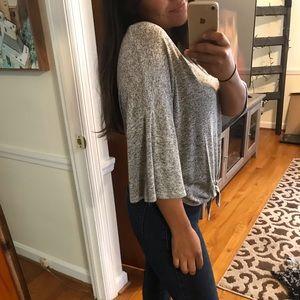 Gray mid length blouse